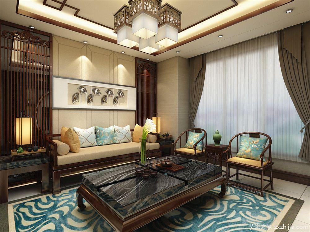 客廳沙發背景墻采用傳統中式木條紋,加一個長畫.
