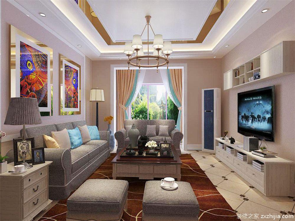 客厅做了欧式风格的吊顶以及灯带,地面是拼花瓷砖.