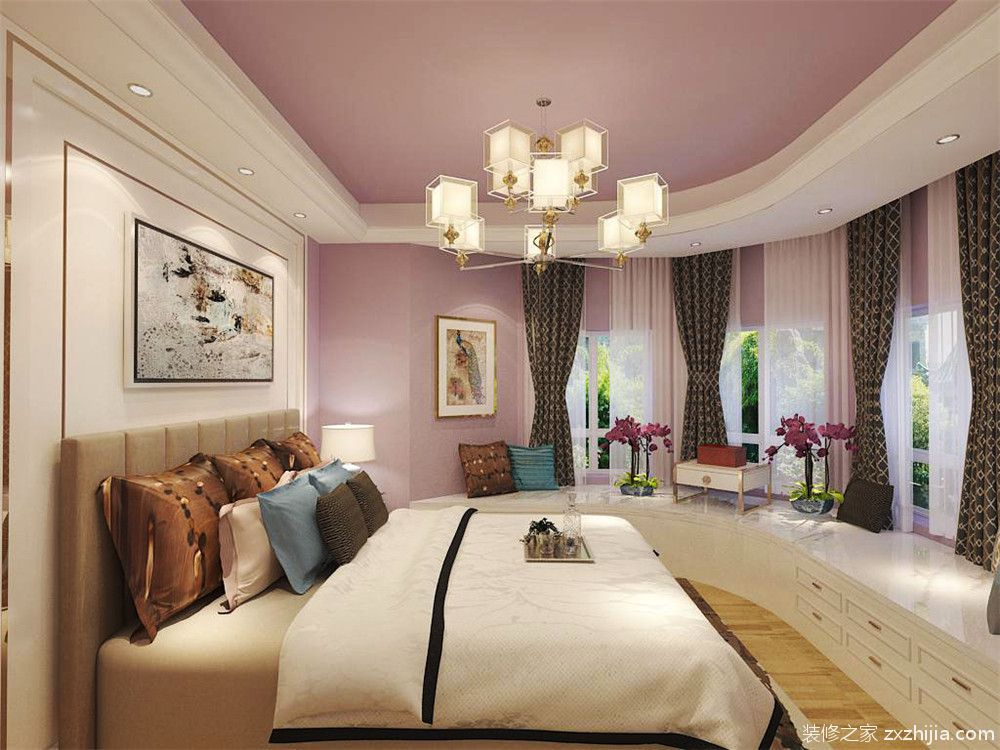 主卧室为不规则房型,墙面是淡紫色乳胶漆,在窗户的周围做了