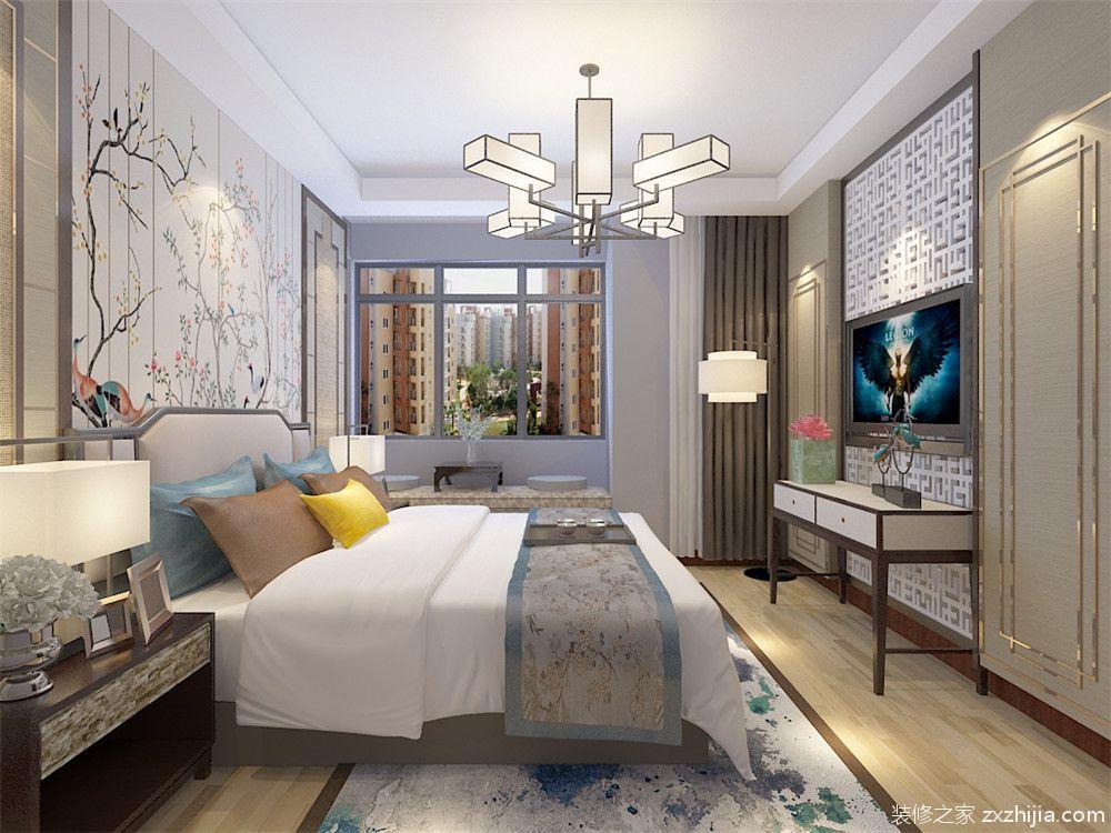 富力尚悦居新中式卧室效果图