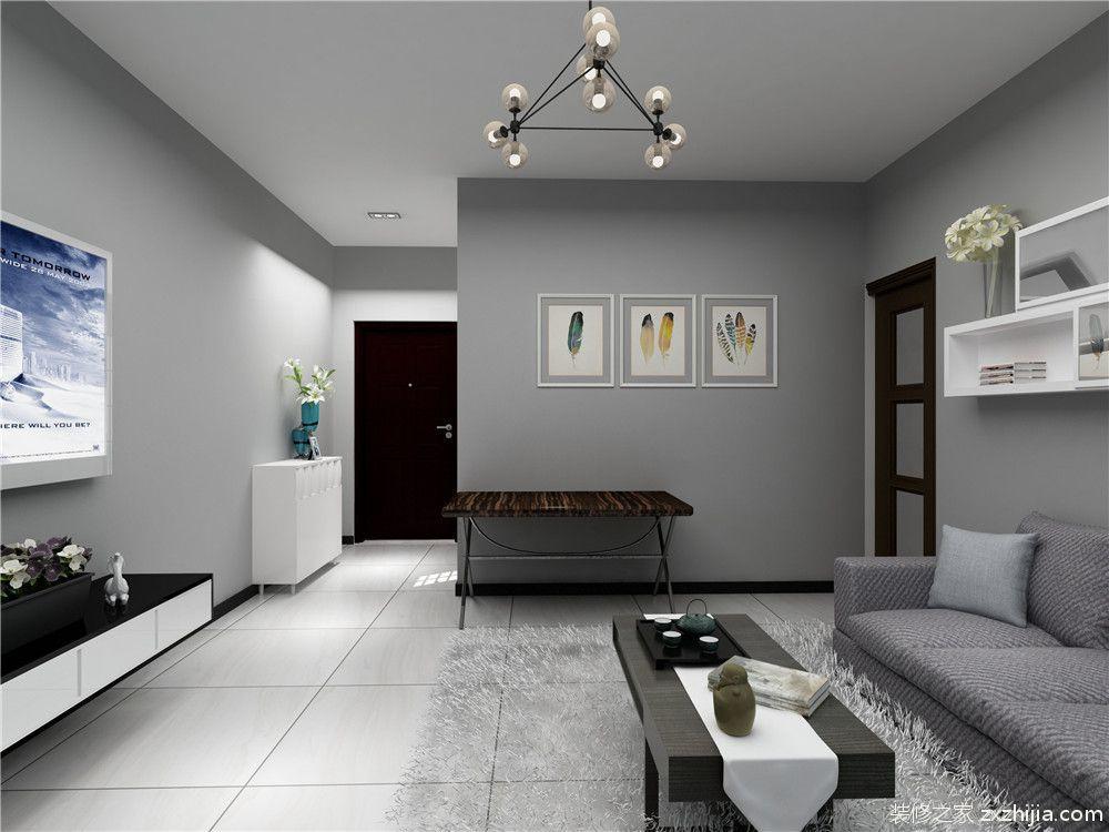 卧室的空间是选择了地板通铺,顶面因业主说空间太小不做吊顶,石膏线