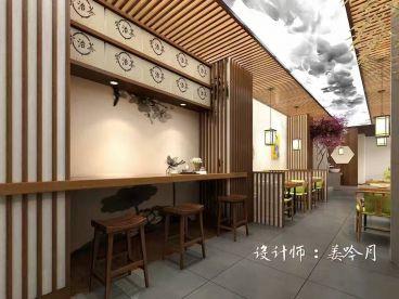 一叶甜品抹茶店半包零室零厅装修效果图