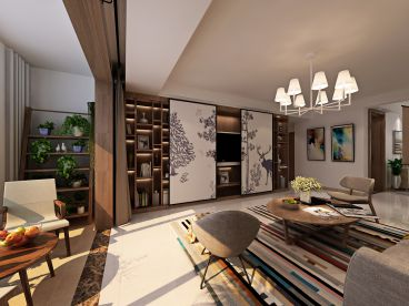 中铁逸都国际新中式四室二厅装修效果图