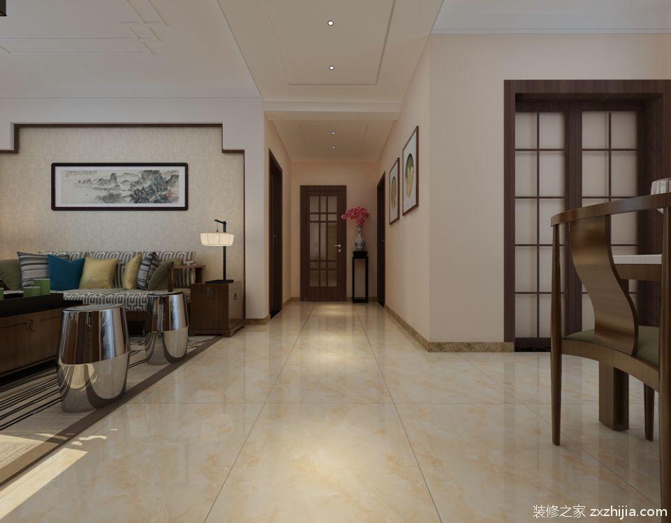 财富中心三室二厅新中式装修效果图