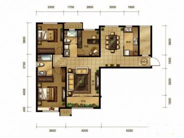 金地紫云庭全包三室二厅装修效果图