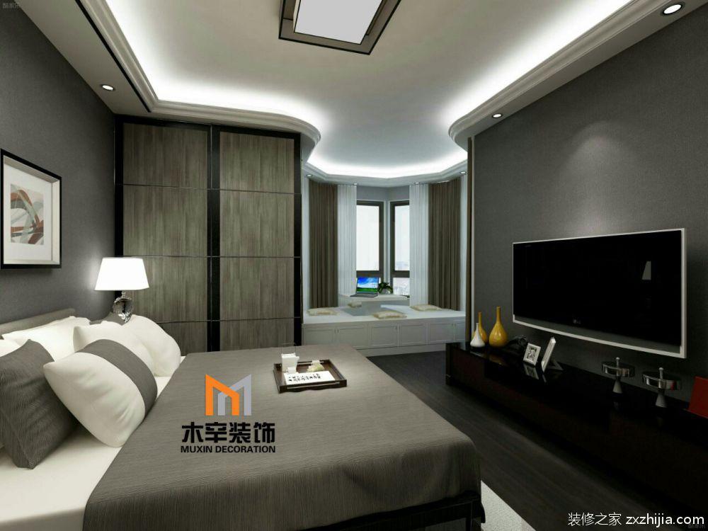 效果图                    灰色木纹理的衣柜门造型,灰白对比的床上