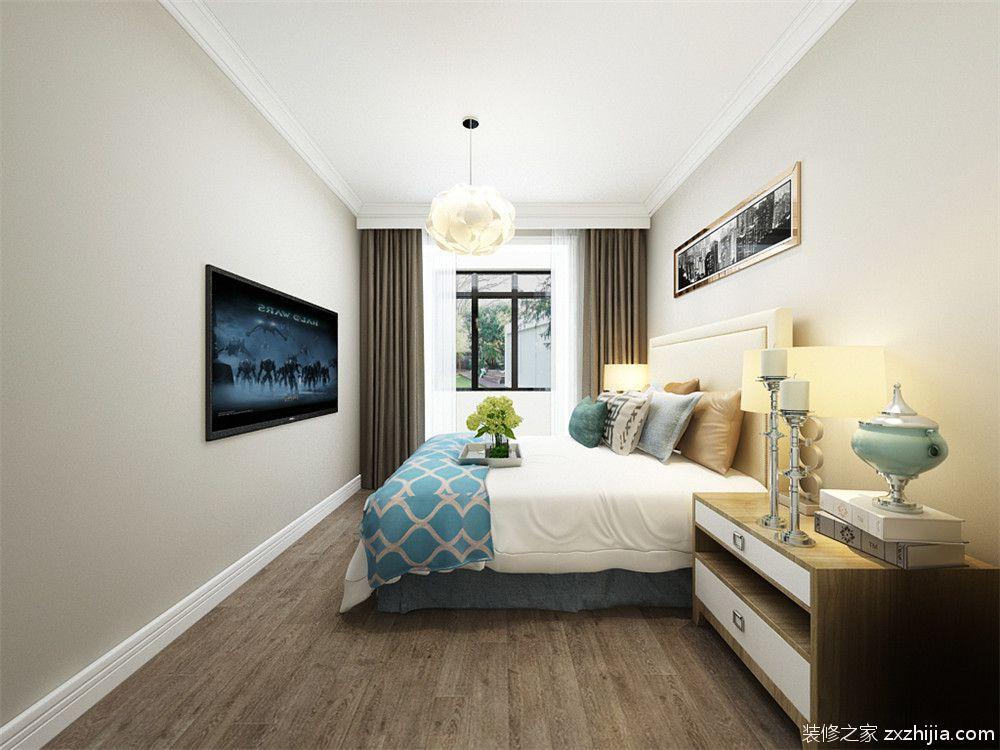 在卧室的设计中采用了奶咖色的乳胶漆,背景墙用了长条形的挂画装饰.图片
