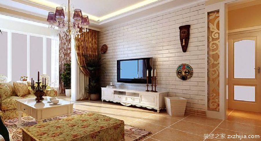 溢彩家园三室二厅恬淡田园装修效果图