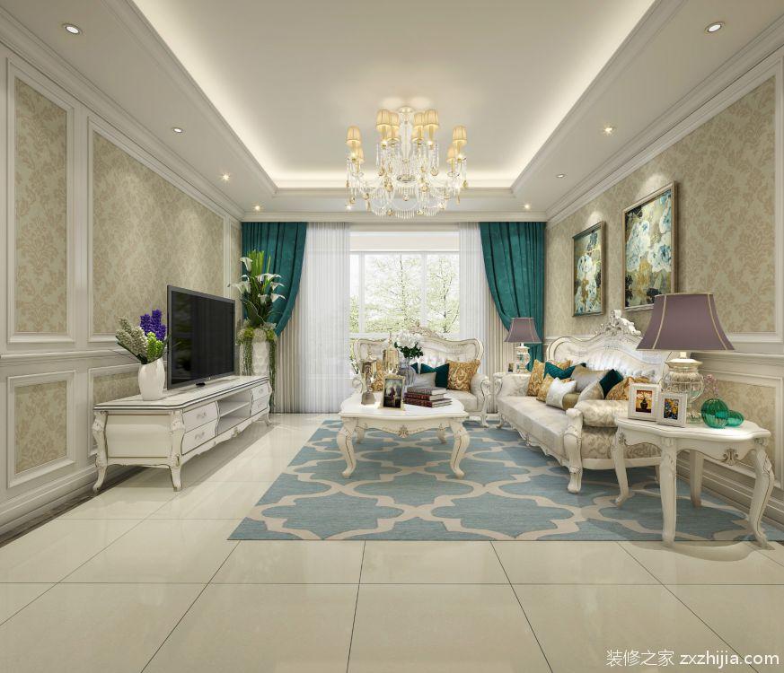墙面采用白色装饰线条搭配欧式金色花纹壁纸,沙发背景墙用两幅精致的
