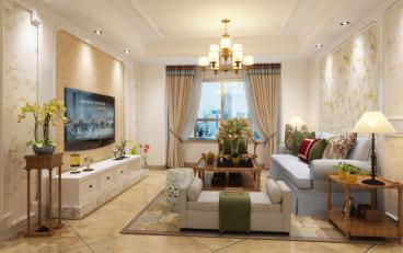 万裕龙庭水岸美式三室二厅装修效果图