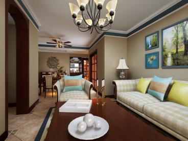 滨湖云水湾三室二厅美式装修效果图