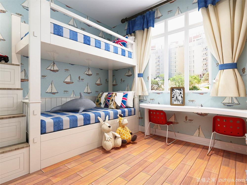 儿童房为舒适的上下铺,双人的书桌以及衣柜