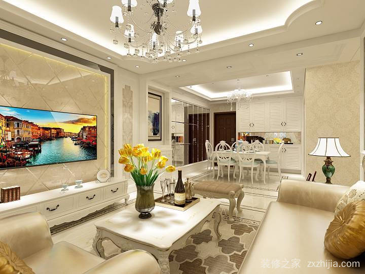 龙景逸墅二室一厅现代简约装修效果图