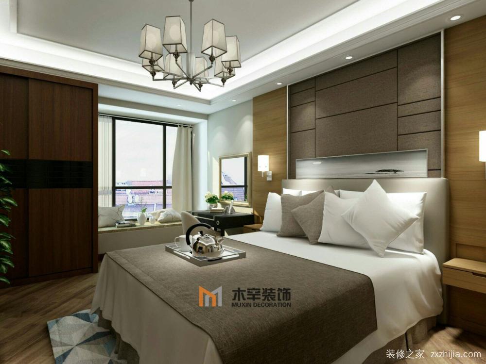 主卧空间以原木色为主,吊顶用了简洁的设计,卧室床头背景运用原木墙板图片