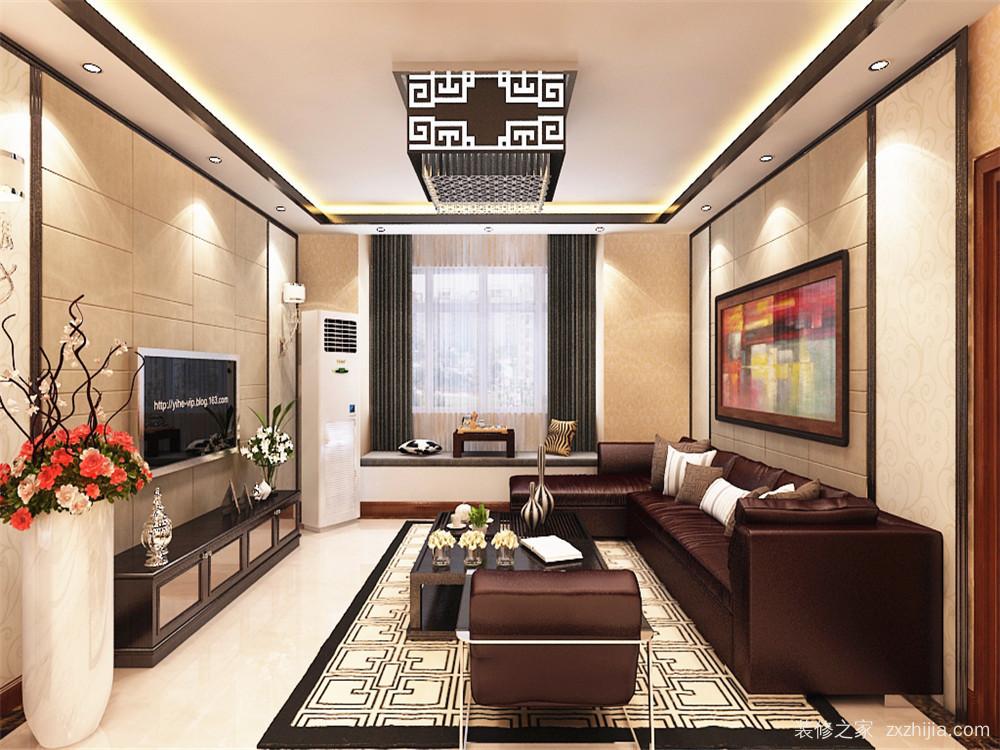 免费获取户型设计 远洋风景新中式客厅效果图 整个客餐厅通铺800*800