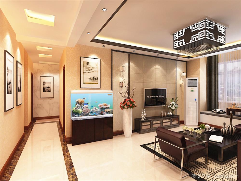 免费获取户型设计 远洋风景新中式客厅效果图 客餐厅,过道及卧室吊顶