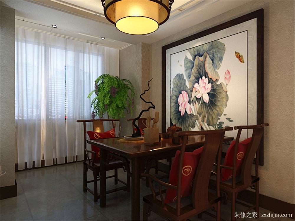 宝龙城半包中式装修效果图            在地面铺装方面,客厅餐厅走廊