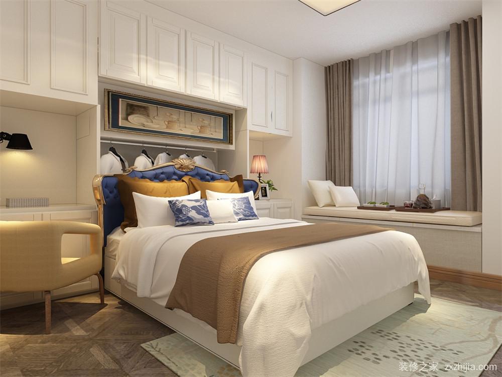 臥室設有飄窗,床頭背景墻也做了柜子,既實用又美觀.