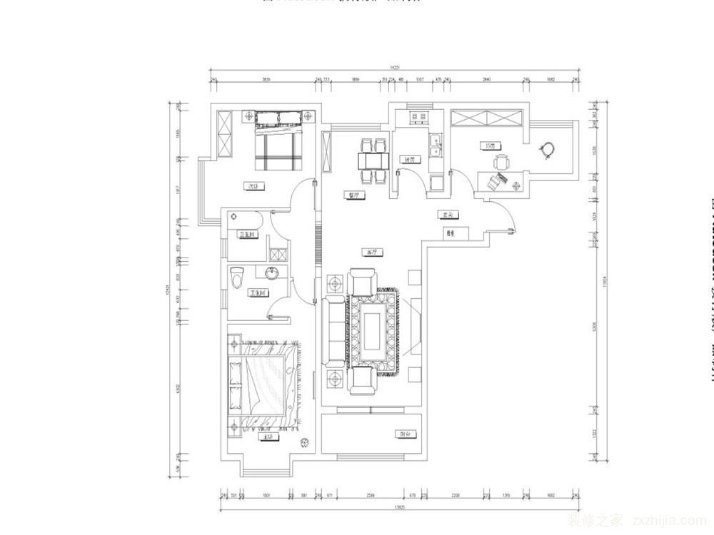 此户型为天津红星国际89㎡,两室两厅一厨两卫.