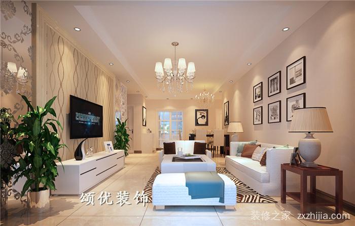旭日上城二期三室二厅现代简约装修效果图