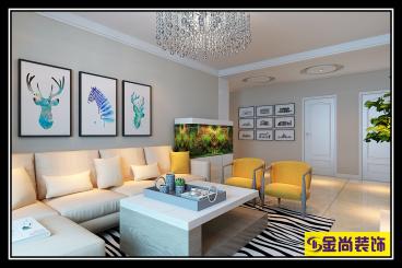 宏瑞国际星城现代简约三室二厅装修效果图
