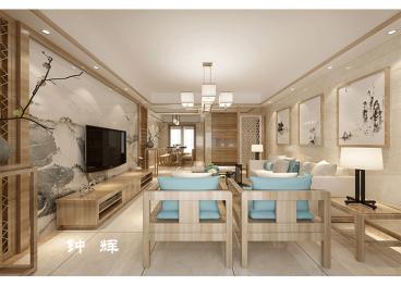 龙腾国际新中式四室二厅装修效果图