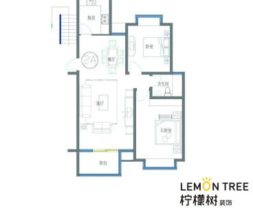 现代风格二室二厅全包装修效果图