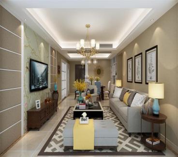 中天铭廷美式三室二厅装修效果图