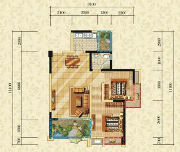 越湖家天下86平二室二厅装修效果图