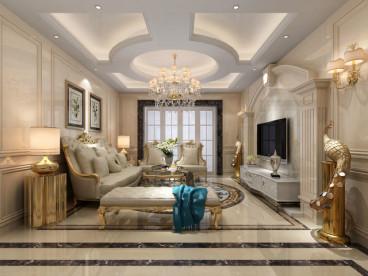 昆仑天籁三室二厅简欧装修效果图