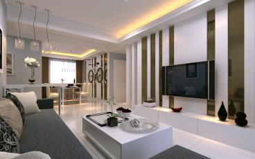 保利玫瑰湾98平二室二厅装修效果图