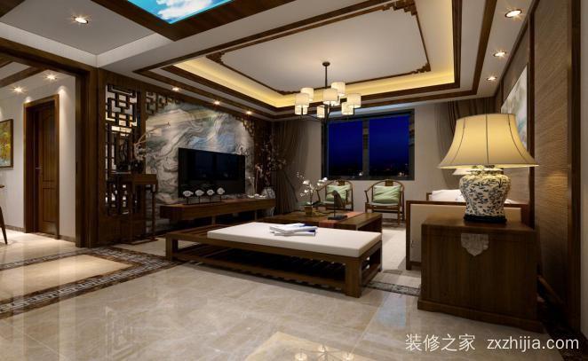 财富名园三室二厅新中式装修效果图