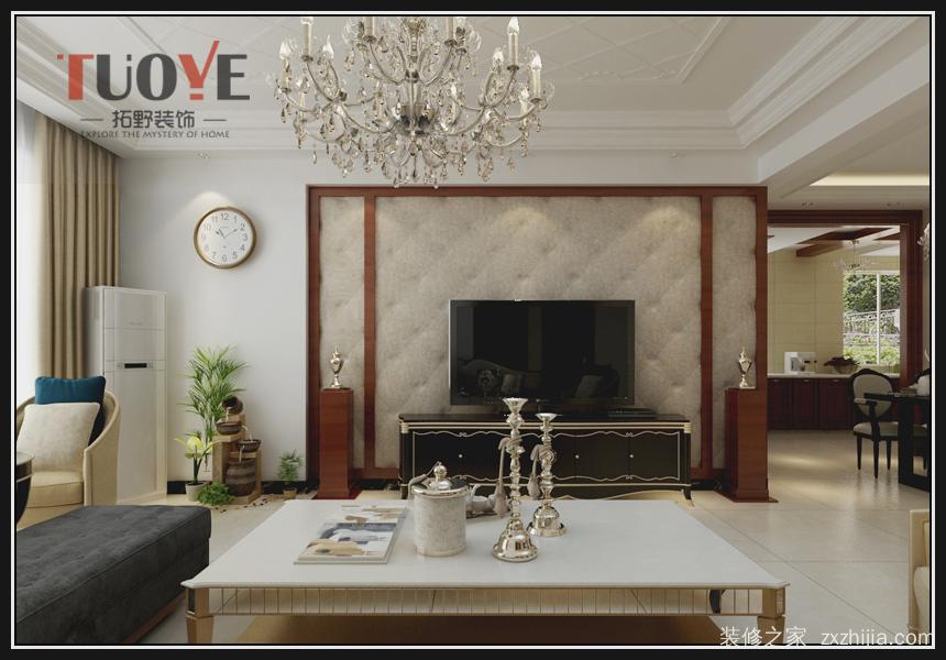 影视墙采用木制边框造型,中间软包材质设计.