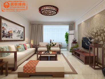龙腾国际花园三室二厅新中式装修效果图