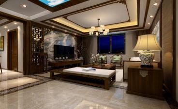 财富名园新中式三室一厅装修效果图