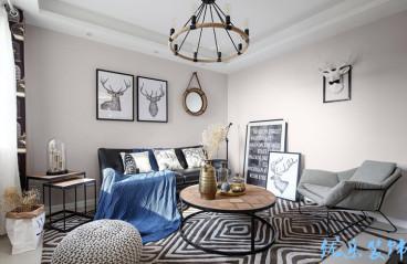 东原中央美地美式三室一厅装修效果图