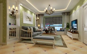 暖山国际城二室二厅恬淡田园装修效果图