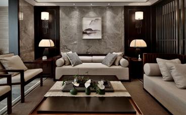 昆山自由都市新中式三室二厅装修效果图