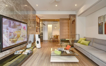 山水四季城现代简约三室二厅装修效果图