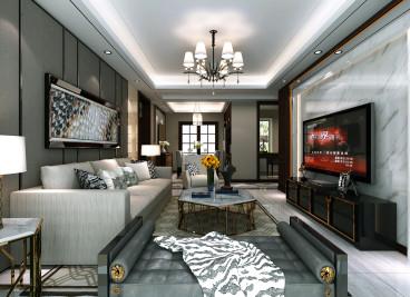 旭辉湖山源著新中式三室二厅装修效果图