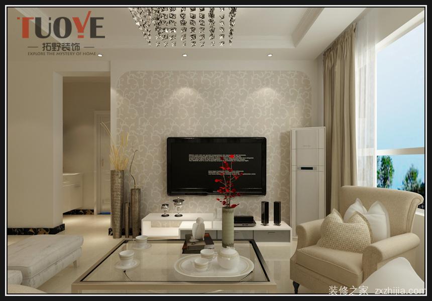 影视墙简约设计,选用壁纸与石膏边框造型搭配.