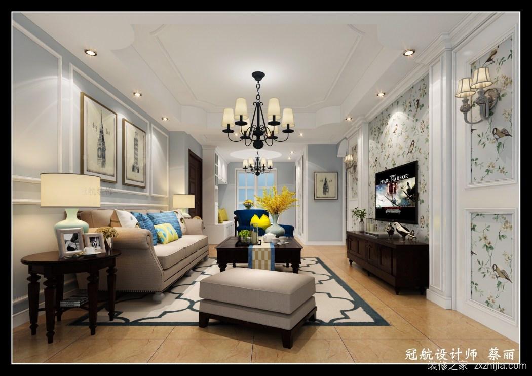 沙发背景墙用典型的美式白色石膏线条来点题,电视背景用温馨田园的图片