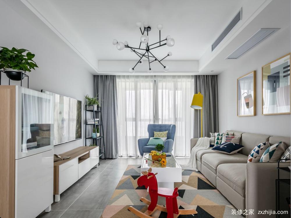 室二厅北欧装修效果图,本案融合了简欧的素净纯白与美式温馨优雅之风