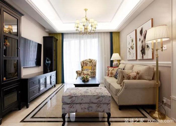 波光霞影美式三室二厅装修效果图