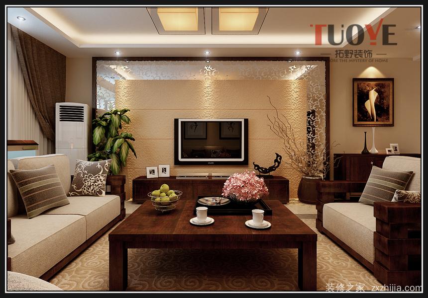 影视墙设计木质直线边框造型,搭配镜面材质与硅藻泥材质