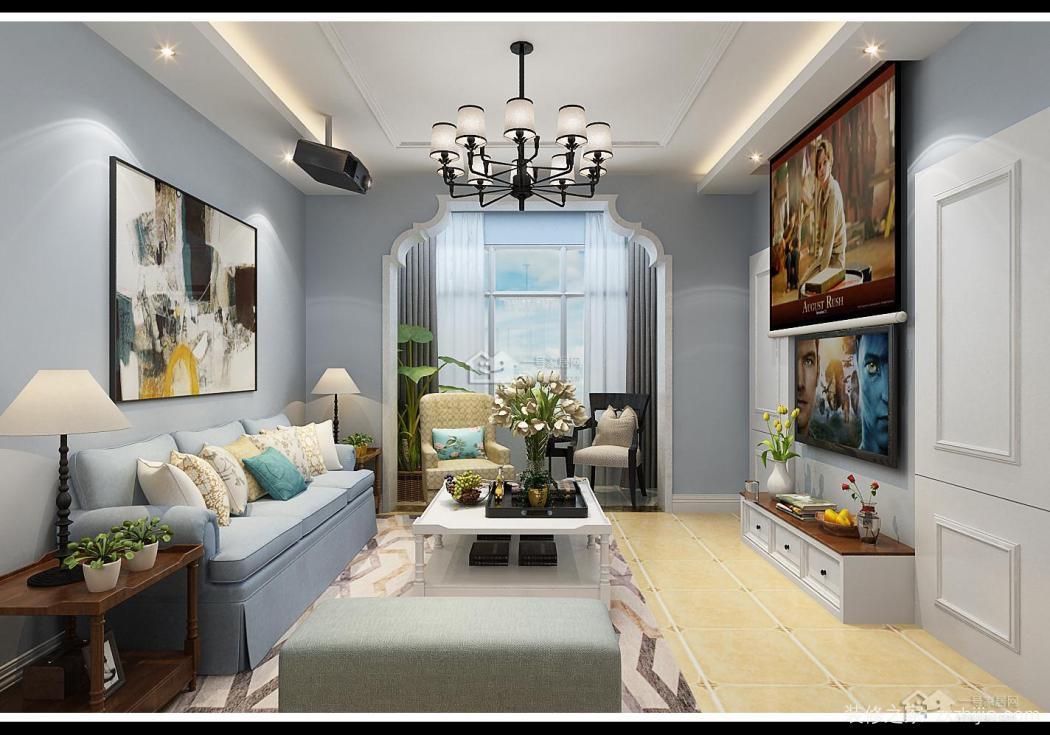 地中海风格电视背景墙,墙面蓝色乳胶漆搭配蓝色家具