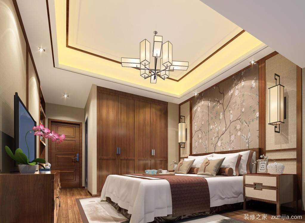 华联城市全景新中式卧室效果图