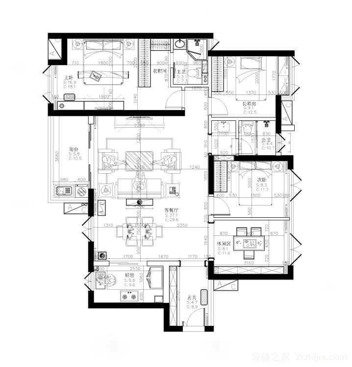 南航明珠花园四室一厅半包装修效果图