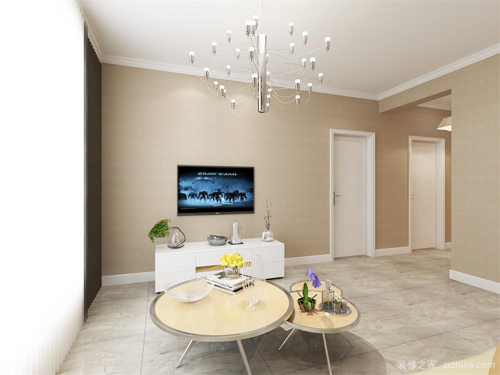 现代简约客厅效果图 客餐厅空间顶面为原顶面乳胶漆,贴顶角为石膏线