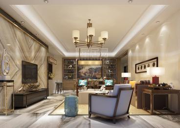 二沙岛花城苑现代简约三室二厅装修效果图
